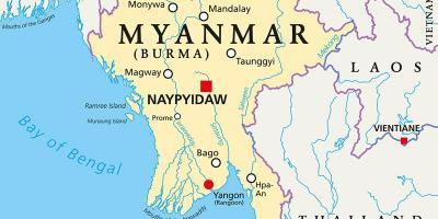 Burma Peta Negara Myanmar Foto Serikat Selatan Timur Asia Gambar